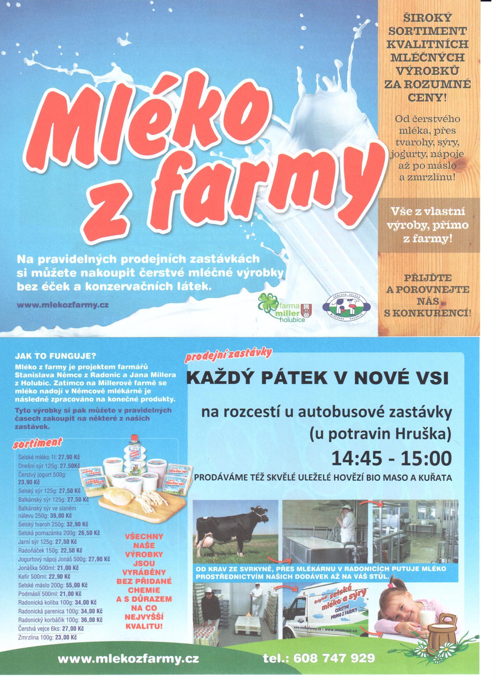 Mléko z farmy