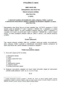 Obecně závazná vyhláška obce Nová Ves č. 1 2015 01