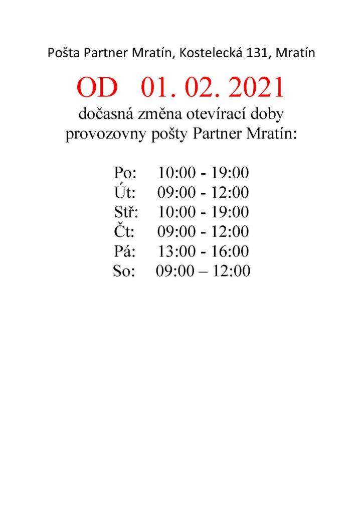Posta Partner Mratin od 1.2.2021